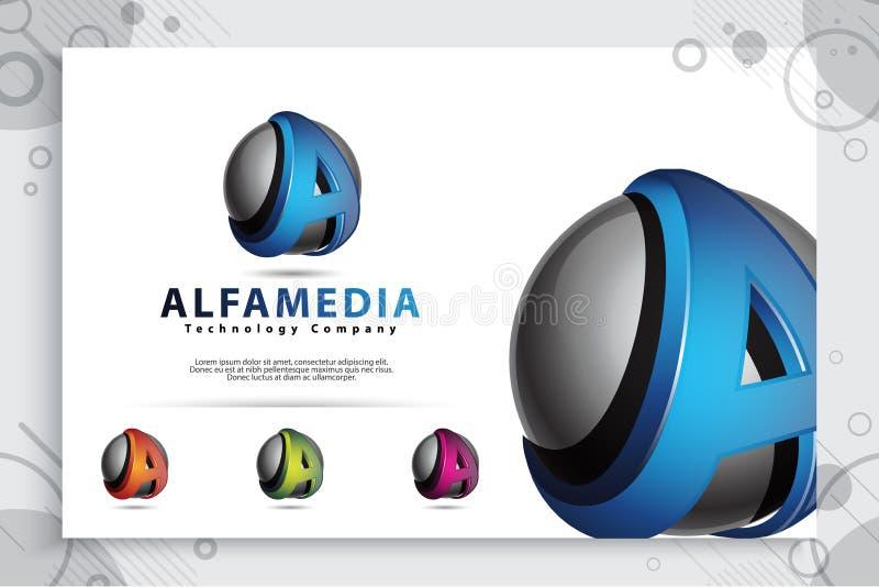 Rotule um logotipo com conceito moderno da cor e do estilo 3d ilustração digital da letra A para o negócio e a empresa ilustração royalty free
