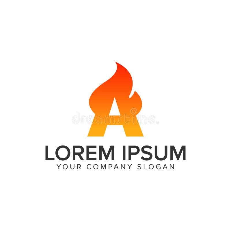 Rotule um molde do conceito de projeto do logotipo da chama de ignição Inteiramente editable ilustração stock