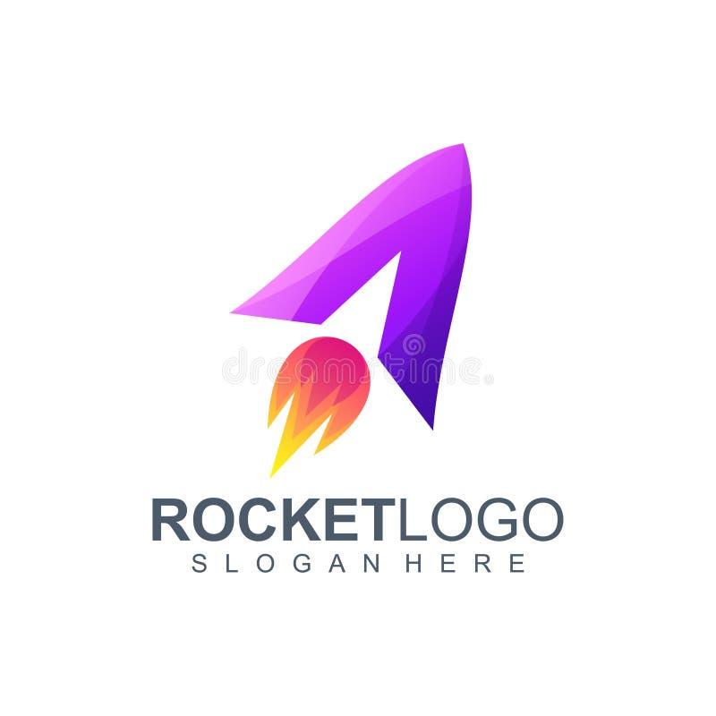 Rotule uma ilustração do vetor do projeto do logotipo do foguete ilustração do vetor