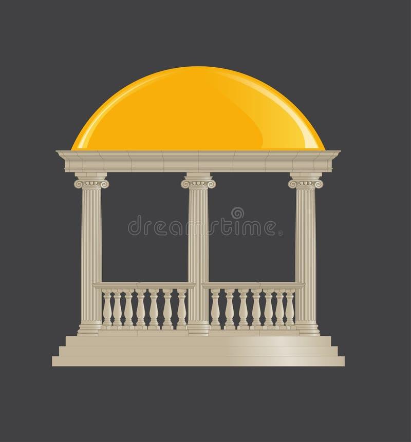 Rotunda clássica, ordem iônica ilustração do vetor