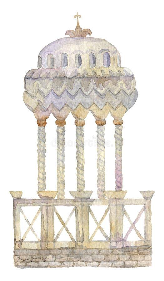 Rotunda com colunas e balaustrada Elemento arquitetónico do vintage no estilo do victorian ilustração stock