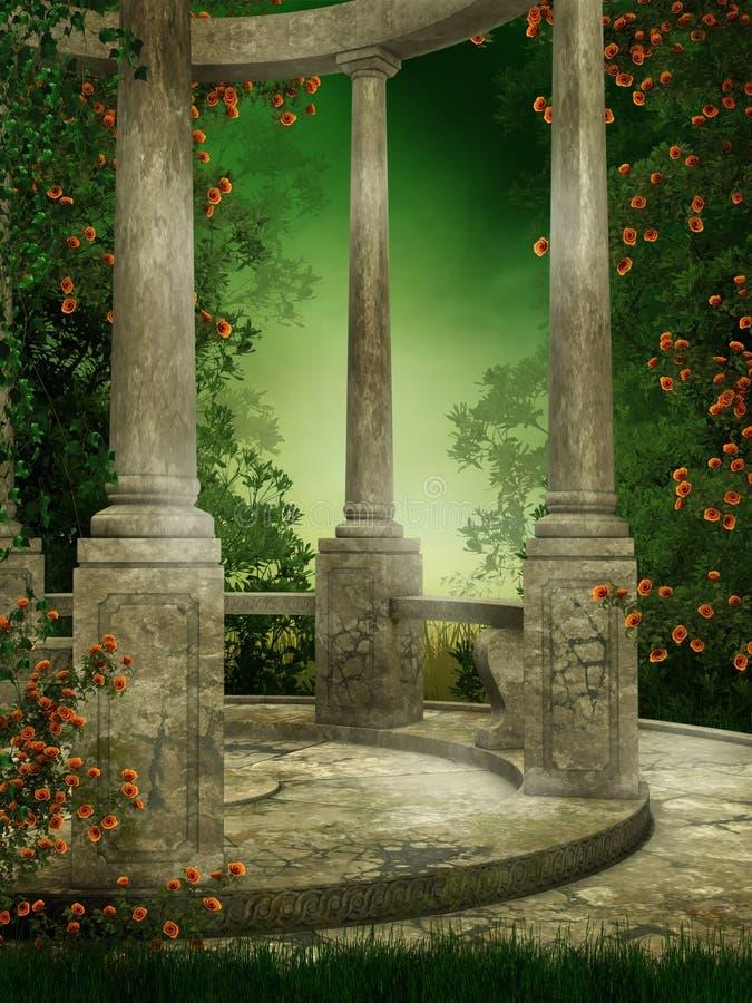 Rotunda com rosas ilustração stock