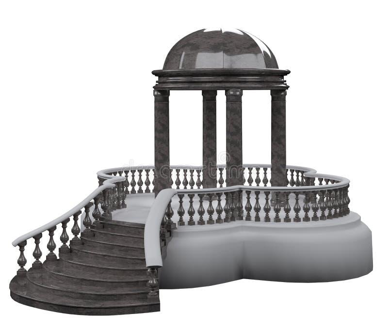 Rotunda complexa do jardim com uma escada do granito cinzento ilustração stock