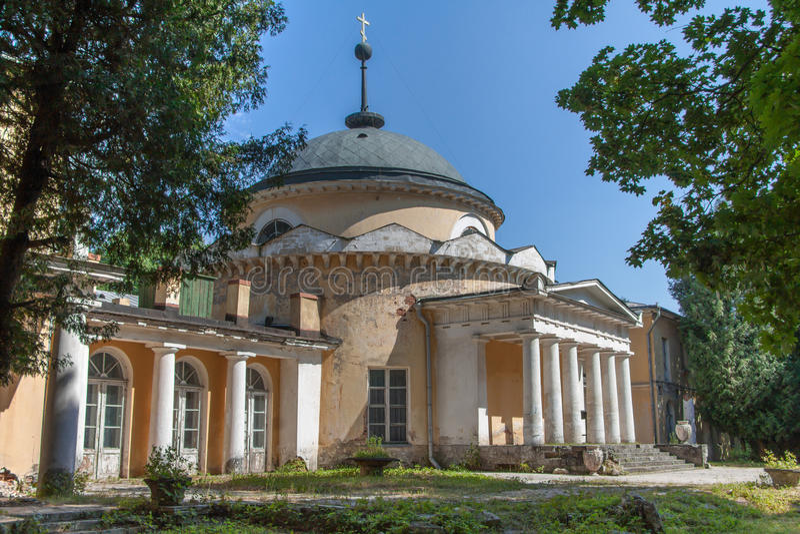 Rotunda-crypt in manor Sukhanovo. In summer royalty free stock images