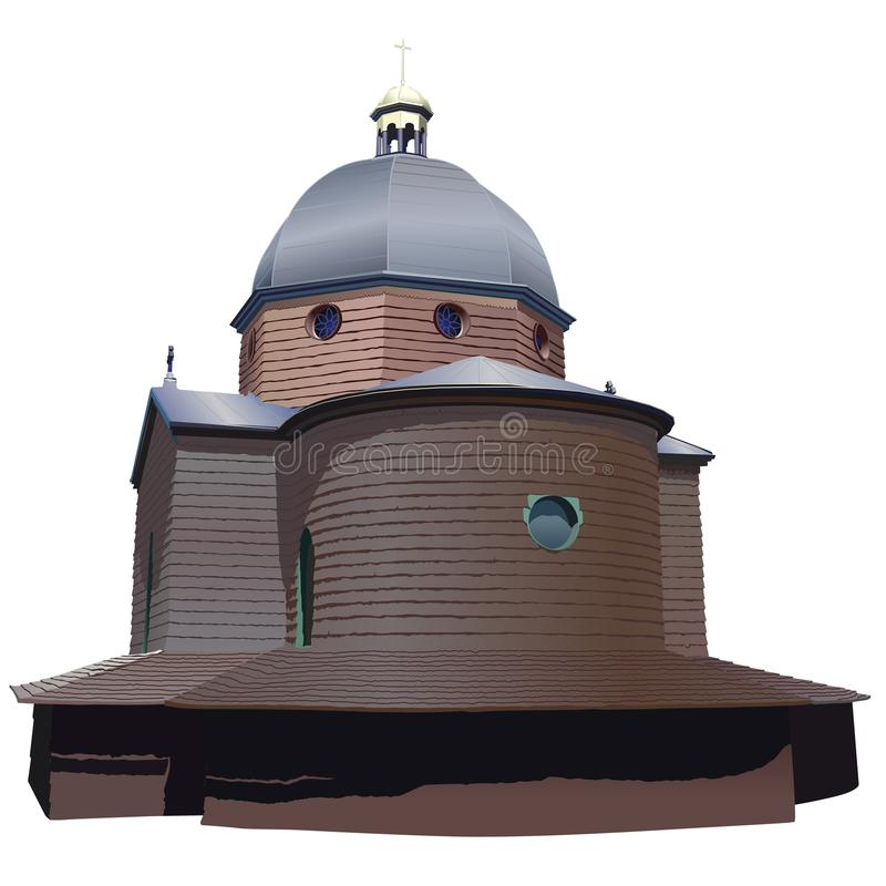 Rotunda de madeira da igreja ilustração stock