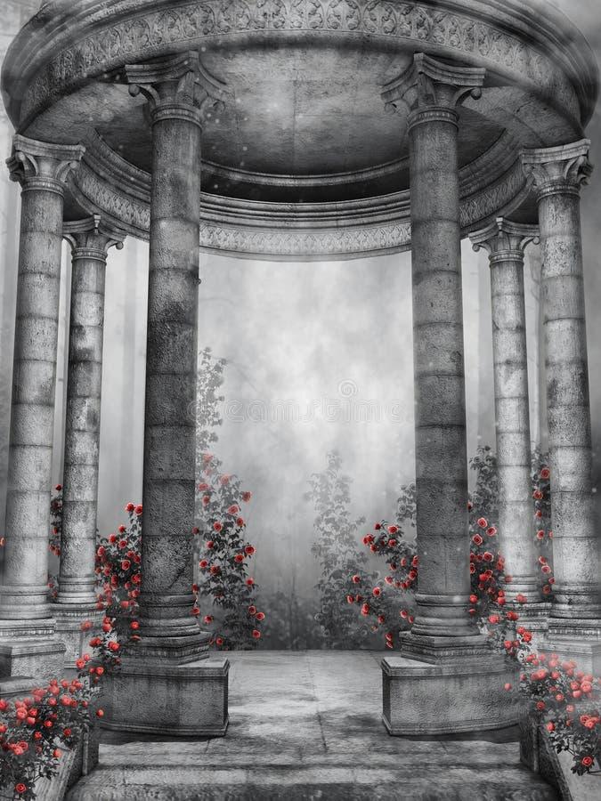 Rotunda escura com rosas ilustração royalty free