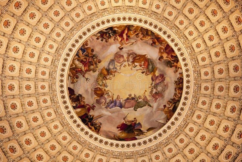rotunda kupol för apothesiscapitoldc oss washington royaltyfri fotografi