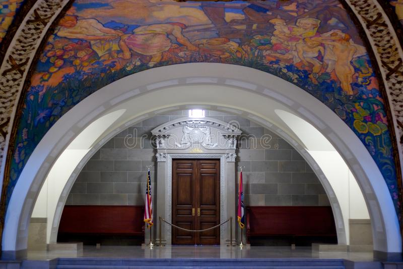 Rotunda Mural in Missouri State Capital. The Governor office located inside the Missouri state capital building in Jefferson, MO. The mural paintings on the royalty free stock photos