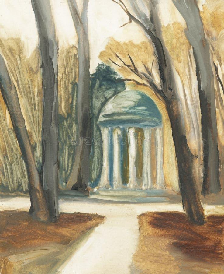 Rotunda no parque entre as árvores ilustração royalty free