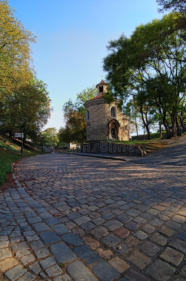 Rotunda of saint Martin in Vysehrad `Upper Castle`, summer morning view. The Oldest and the biggest rotunda in Prague. Czech Republic royalty free stock photography