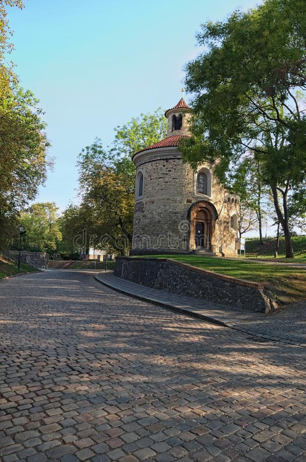Rotunda of saint Martin in Vysehrad `Upper Castle`, summer morning view. The Oldest and the biggest rotunda in Prague. Czech Republic stock photos