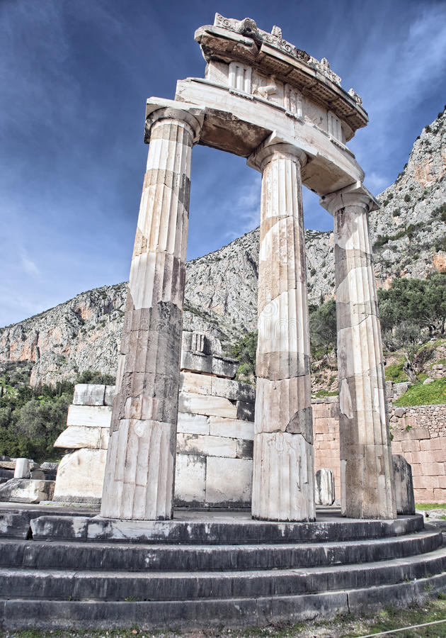 Rotunda of temple of Athena in Delphi stock images