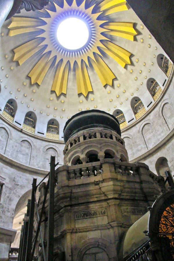 Rotundan ovanför Ediculen i kyrkan av den heliga Sepulchren arkivbilder