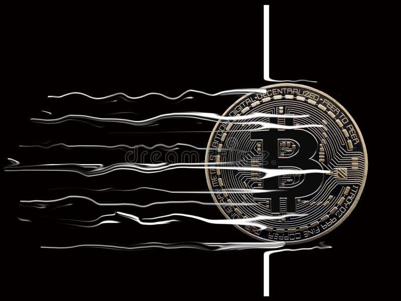 Rotura de Bitcoin a través ilustración del vector