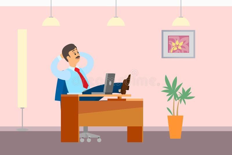 Rotura de funcionamiento Boss Resting en piernas de la oficina en la tabla libre illustration