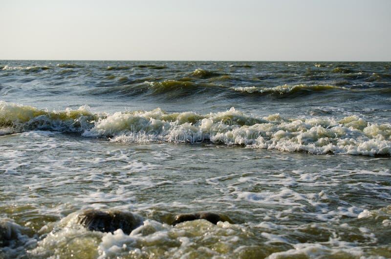Rotura de las ondas en la costa fotos de archivo