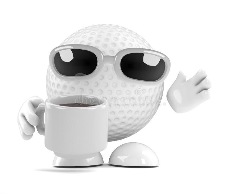 rotura de té de la pelota de golf 3d ilustración del vector