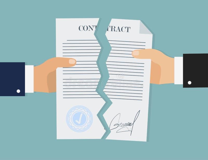 Rotura del contrato en el estilo plano, concepto del negocio, vector stock de ilustración