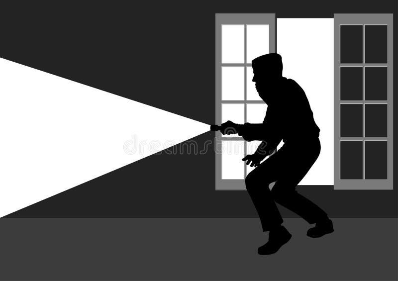 Rotura del ladrón en la casa stock de ilustración