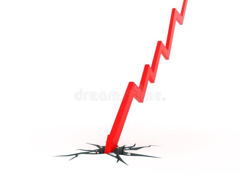 Roturas rojas del gráfico de la flecha a través de la tierra ilustración del vector