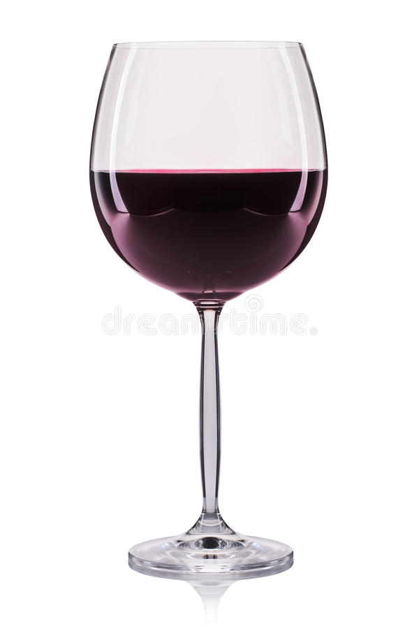 Rotwein in einem Glas lokalisiert auf weißem Hintergrund lizenzfreies stockbild