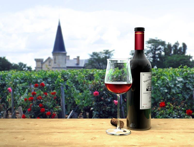 Rotwein in französischem Médoc lizenzfreie abbildung