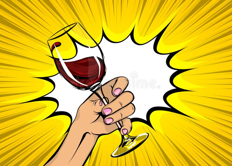 Rotwein-Glasweinlese des Pop-Arten-Frauenhandgriffs lizenzfreie abbildung