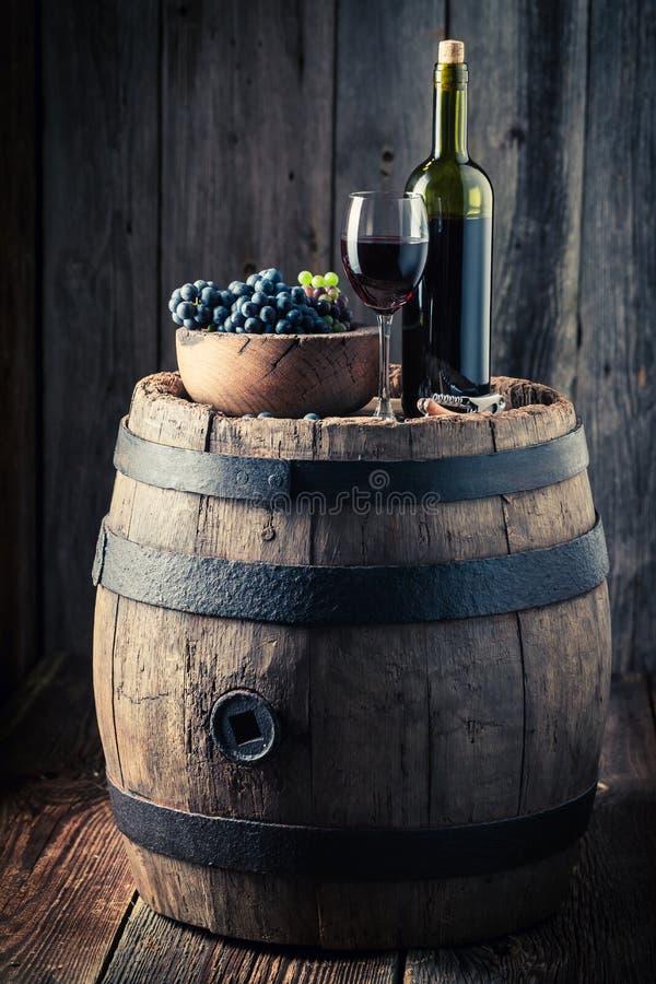 Rotwein mit frischen Trauben auf Eichenfaß lizenzfreies stockbild