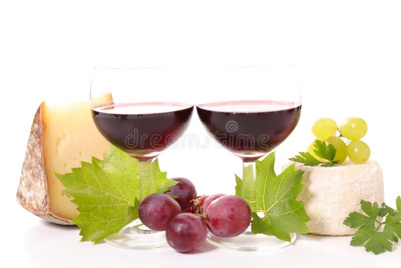 Rotwein und Käse stockfotos