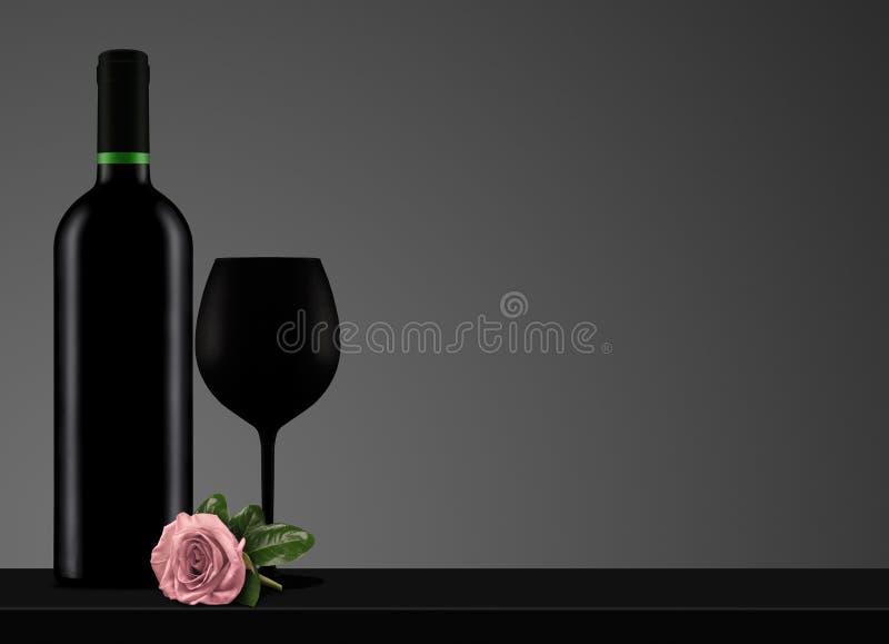 Rotweinflasche mit schwarzer Glas- und Rosarose lizenzfreie abbildung