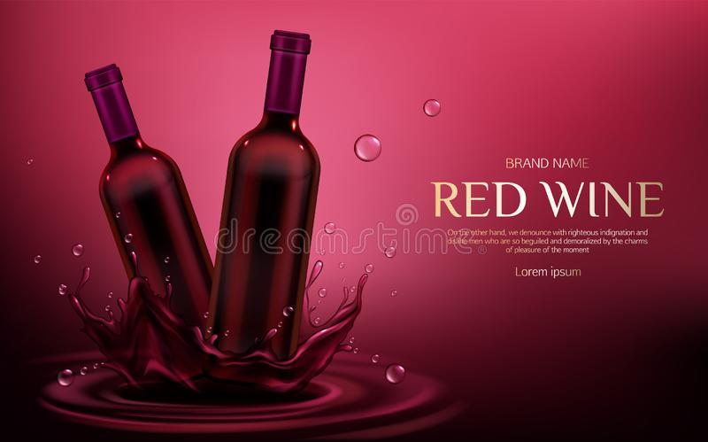 Rotweinflaschenmodell, Flaschen mit Alkoholgetränk lizenzfreie abbildung