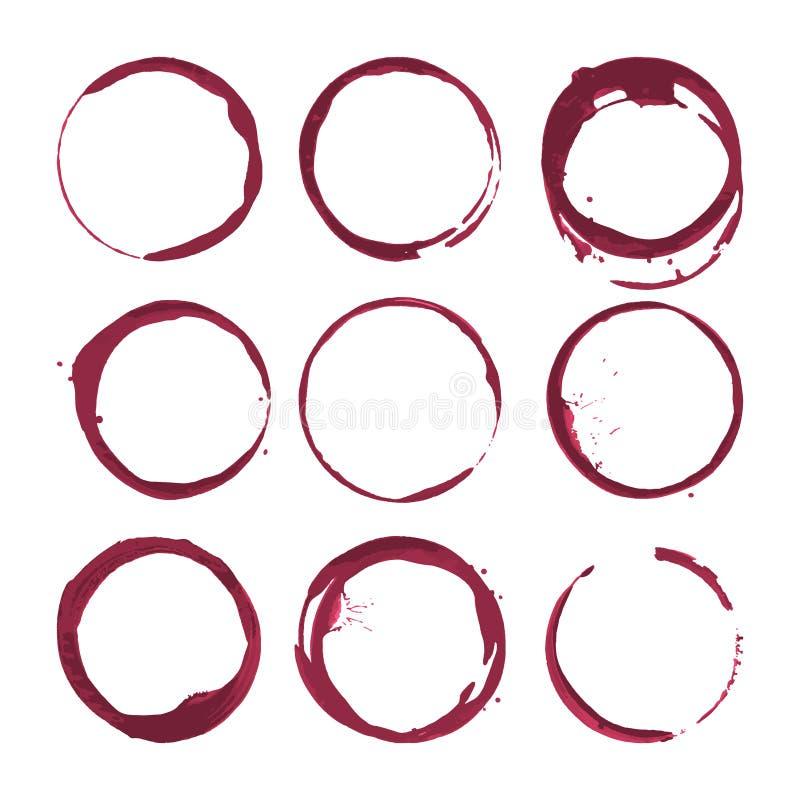 Rotweinflecke Spurnwein spritzt Satz Vektor lizenzfreie abbildung