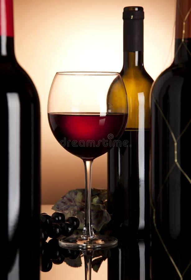 Rotweinglas und -flaschen stockfotografie
