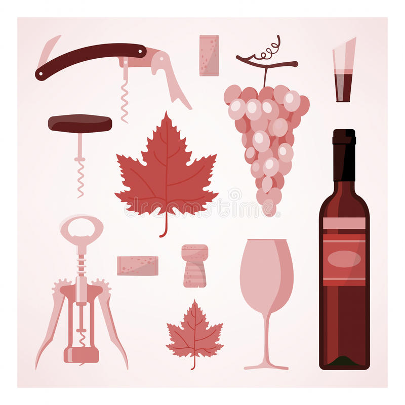 Rotweinweinleseillustration stock abbildung