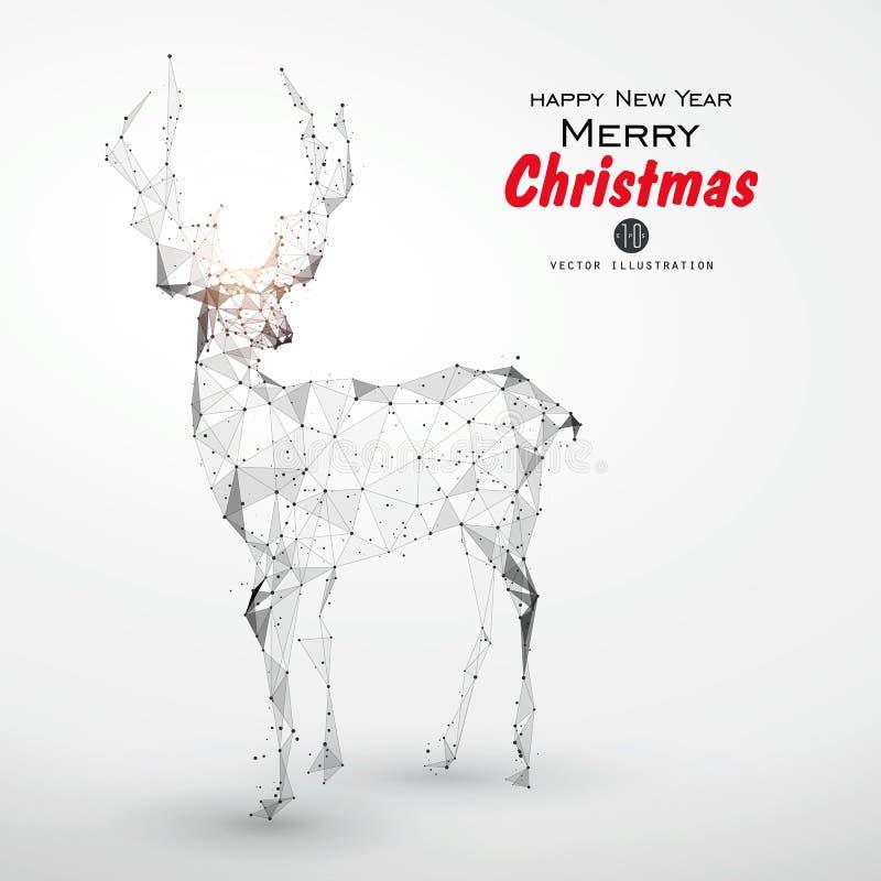 Rotwild bestanden aus Punkt, Linie, Oberfläche kann als die Abdeckung einer Weihnachtsgrußkarte verwendet werden vektor abbildung