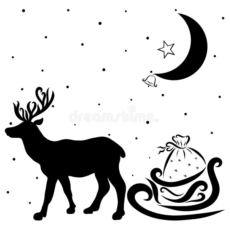 Rotwild, die Geschenke von Santa Claus, vom Mond und von der Glocke liefern vektor abbildung