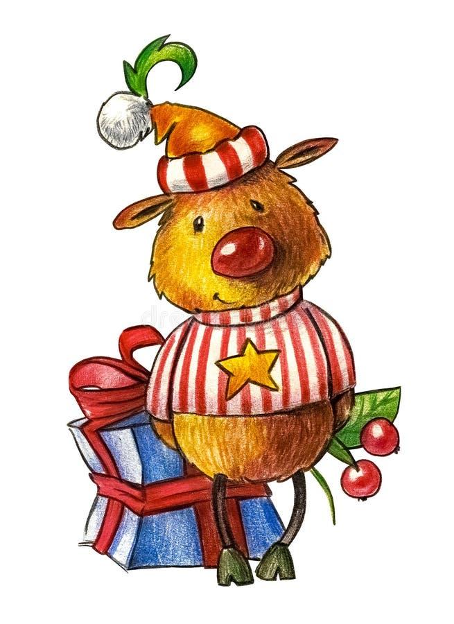 Rotwild in einem Hut und in einem gestreiften Hemd mit einem gelben Stern auf seinem Kasten lokalisierten Gegenstand stock abbildung