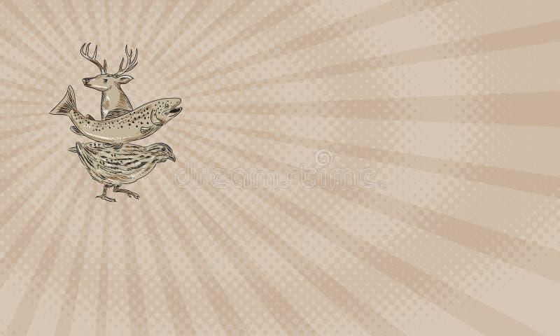 Rotwild-Forellen-Wachtel-Bauernhof-Visitenkarte stock abbildung