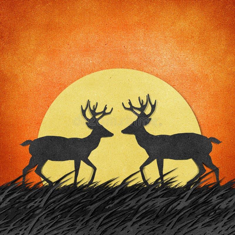 Download Rotwild Gebildet Von Aufbereitetem Papierfertigkeithintergrund Stock Abbildung - Illustration von dekoration, hintergrund: 26361347