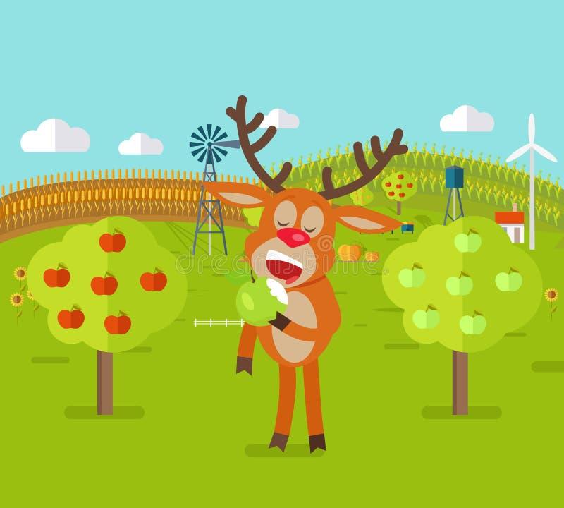 Rotwild im Garten isst Apple Netter Ren-Snack stock abbildung