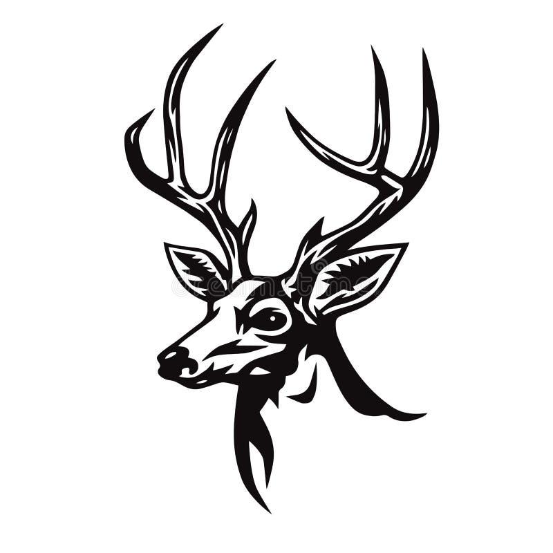 Rotwild-Kopf-stilisierte Zeichnung Logo Template Vector Illustration lizenzfreie abbildung