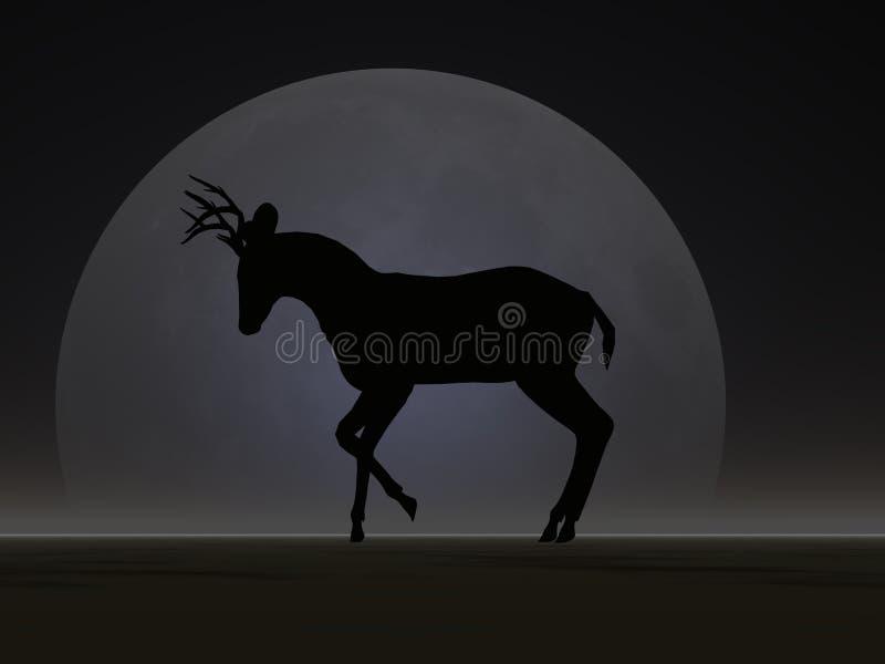Rotwild-Mond-Schattenbild lizenzfreie abbildung