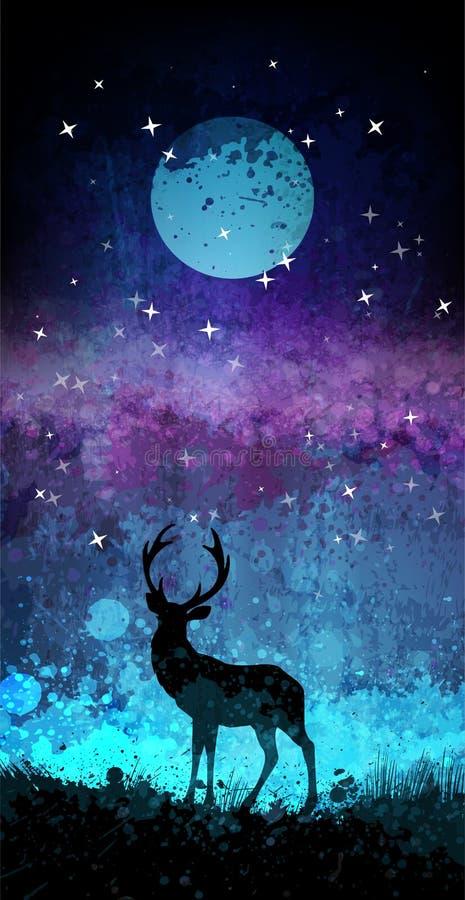 Rotwild silhouettieren vor hellem nächtlichem Himmel mit Mond und Sternen vektor abbildung