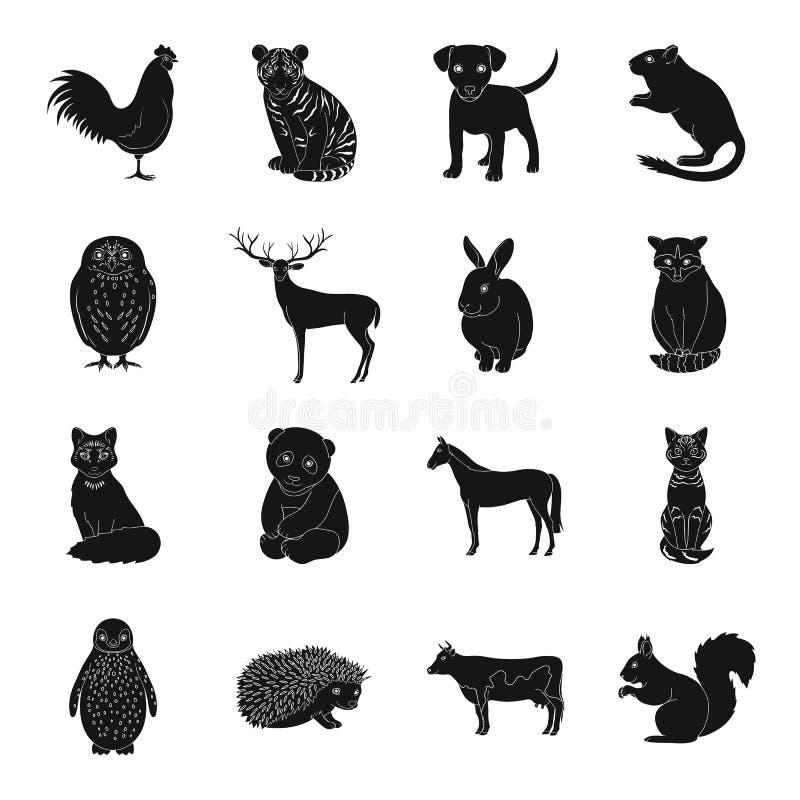 Rotwild, Tiger, Kuh, Katze, Hahn, Eule und andere Tierarten Tiere stellten Sammlungsikonen im schwarzen Artvektorsymbol ein stock abbildung