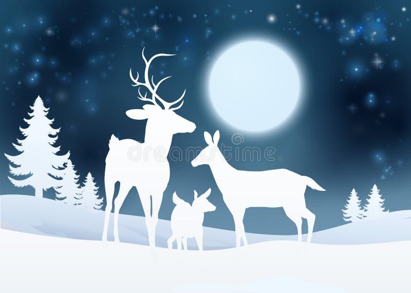 Rotwild-Winter-Szenen-Hintergrund stock abbildung
