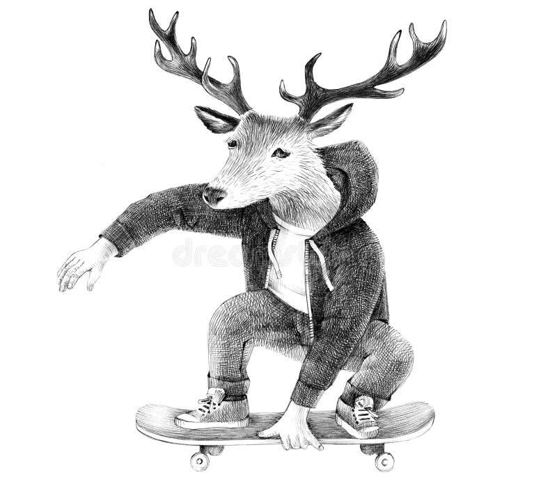 Rotwildhippie-Skateboardfahrer lizenzfreie abbildung