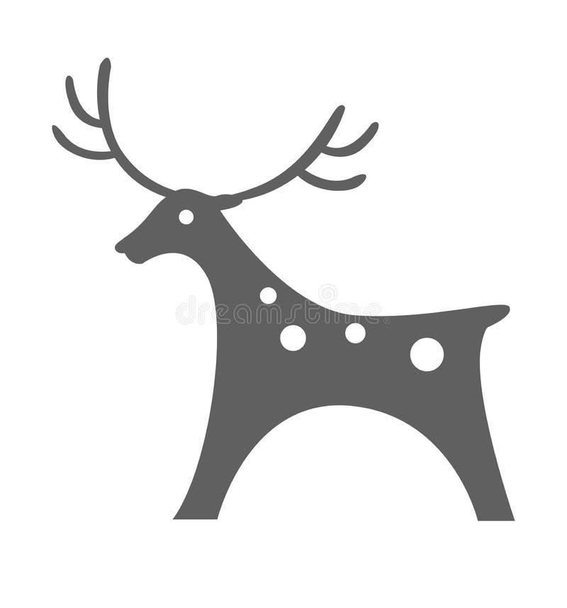Rotwildikonenvektor-Illustrationsschattenbild christmasisolated auf Weiß stock abbildung