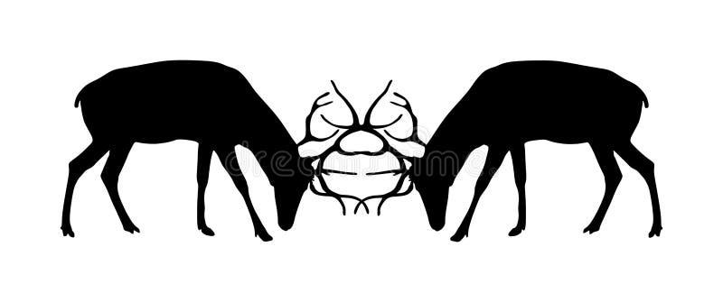 Rotwildkampf-Schattenbildillustration lokalisiert auf weißem Hintergrund Rotwild, das f?r Frau k?mpft Kampf im Wald lizenzfreie abbildung