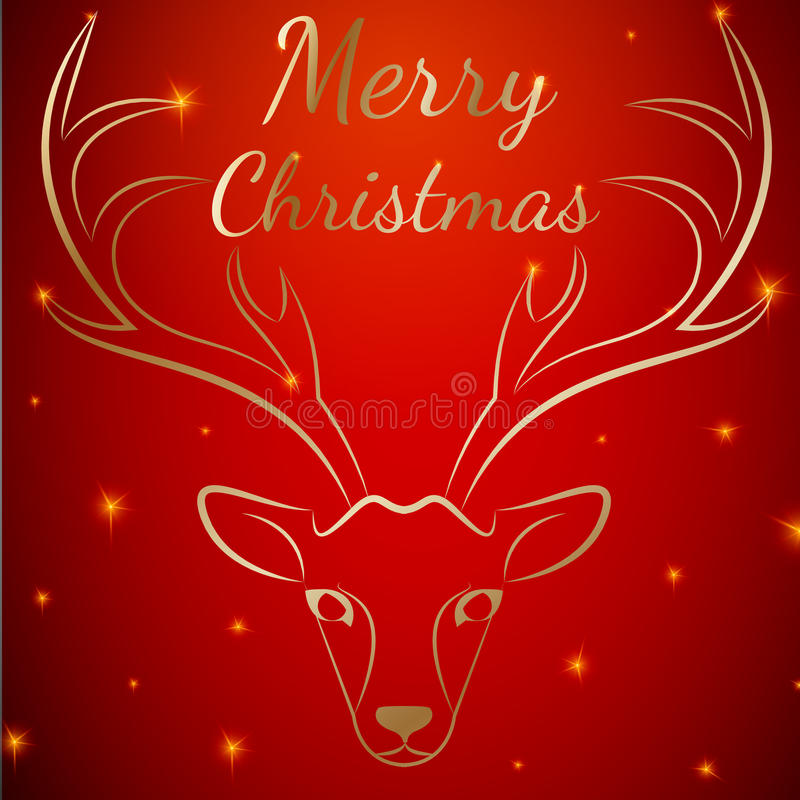Rotwildkopf der frohen Weihnachten vektor abbildung