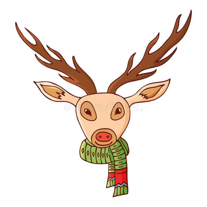 Rotwildkopf in einem Schal Traditionelles festliches Element für Weihnachtsdekoration lizenzfreie abbildung